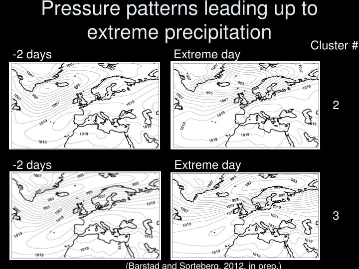 Pressure patterns leading up to extreme precipitation