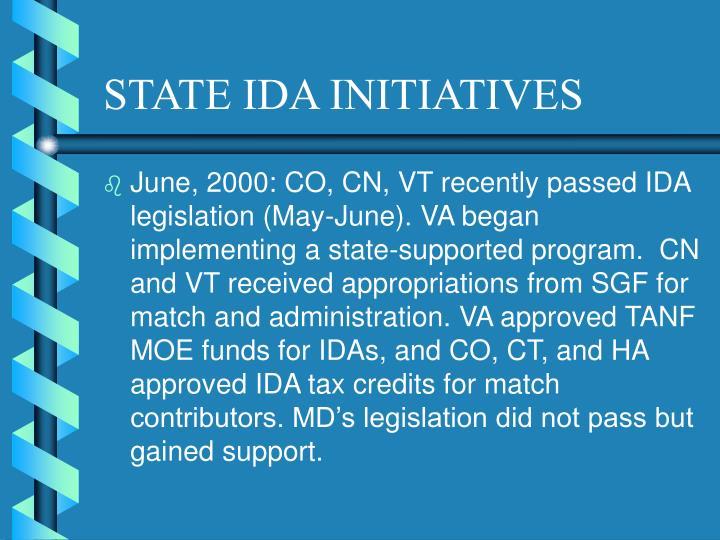 STATE IDA INITIATIVES