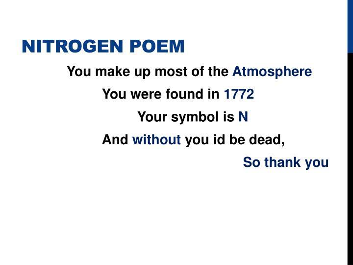 Nitrogen Poem