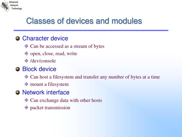 Classes of devices and modules