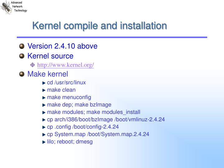 Kernel compile and installation