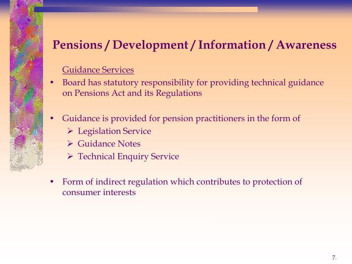 Pensions / Development / Information / Awareness