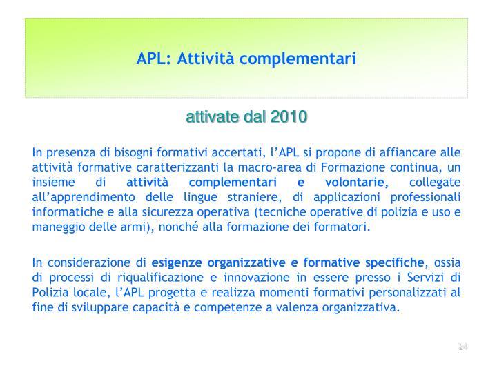 APL: Attività complementari