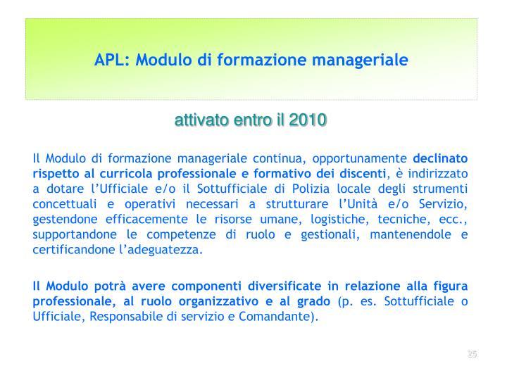 APL: Modulo di formazione manageriale