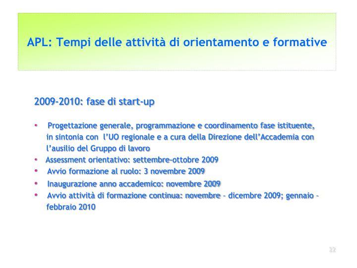 APL: Tempi delle attività di orientamento e formative