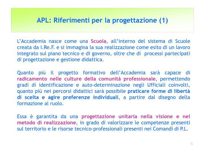 APL: Riferimenti per la progettazione (1)