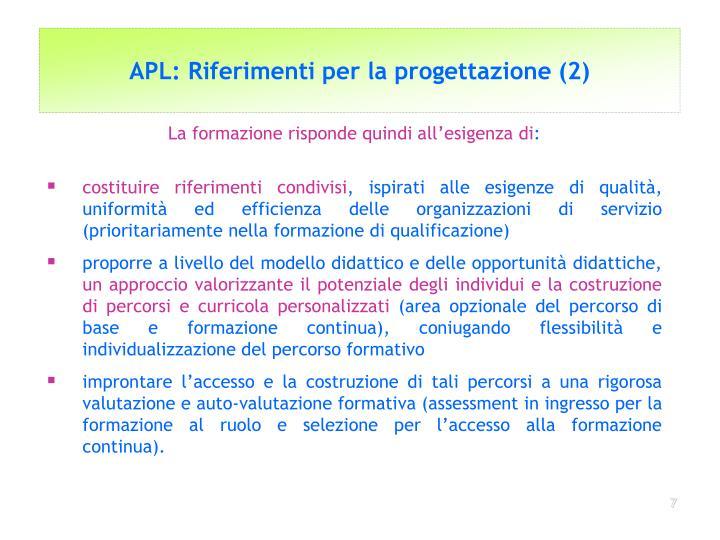 APL: Riferimenti per la progettazione (2)