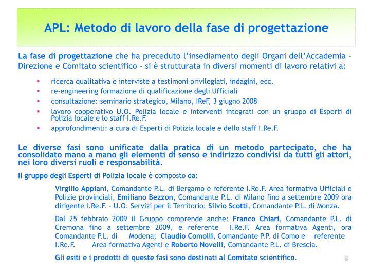 APL: Metodo di lavoro della fase di progettazione