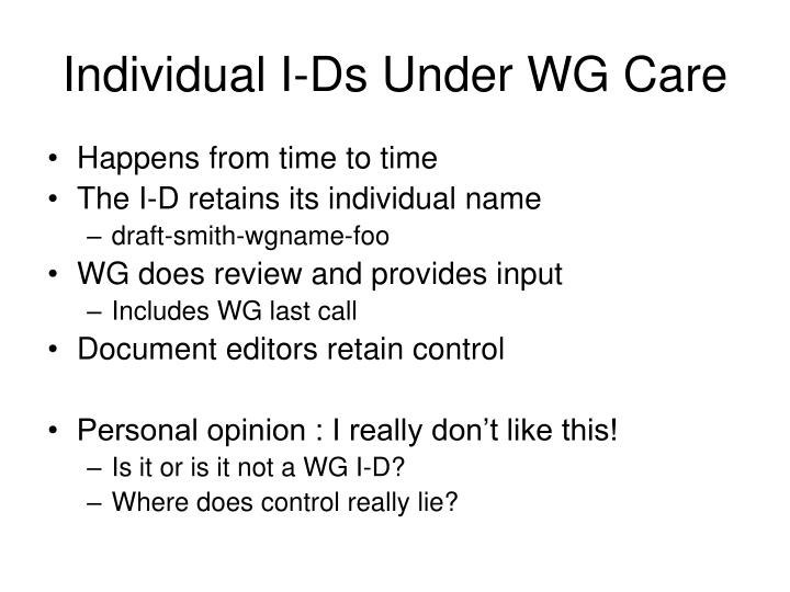Individual I-Ds Under WG Care