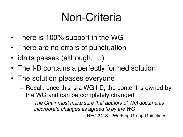 Non-Criteria