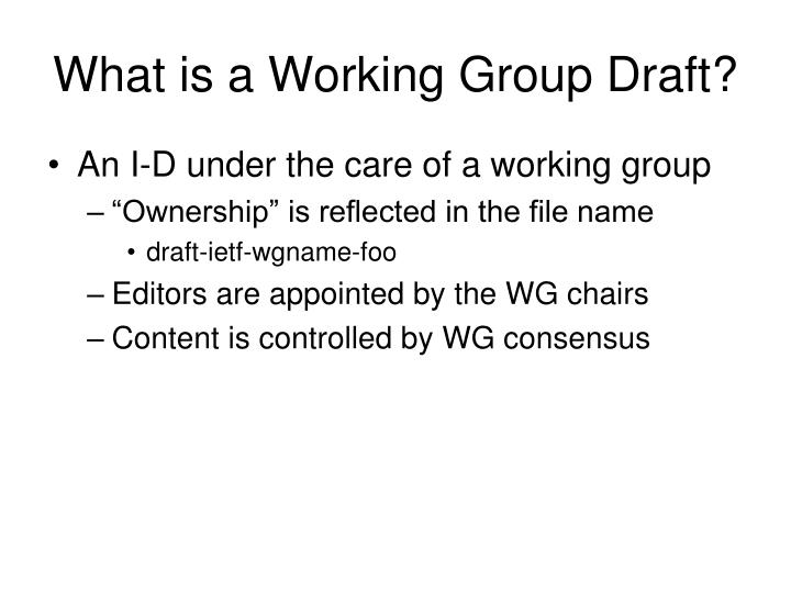 What is a Working Group Draft?