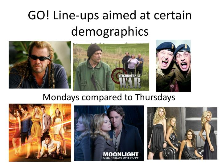 GO! Line-ups aimed at certain demographics