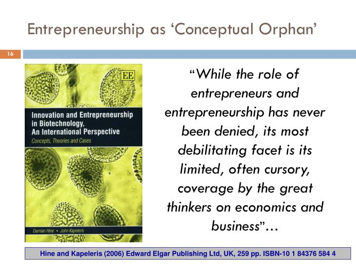 Entrepreneurship as 'Conceptual Orphan'