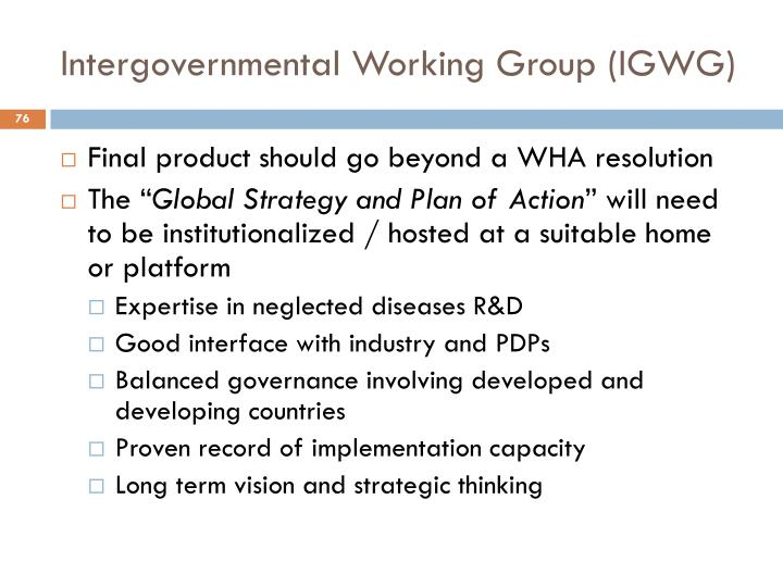 Intergovernmental Working Group (IGWG)