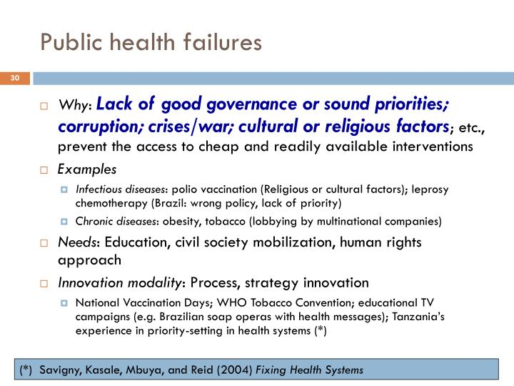Public health failures
