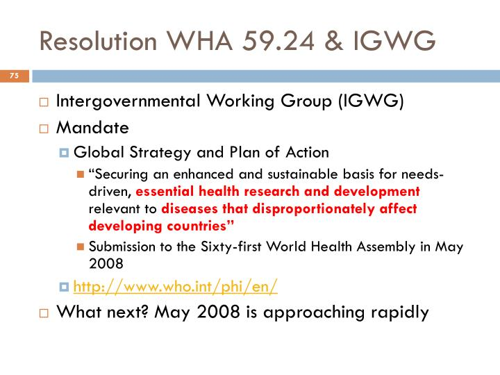 Resolution WHA 59.24 & IGWG