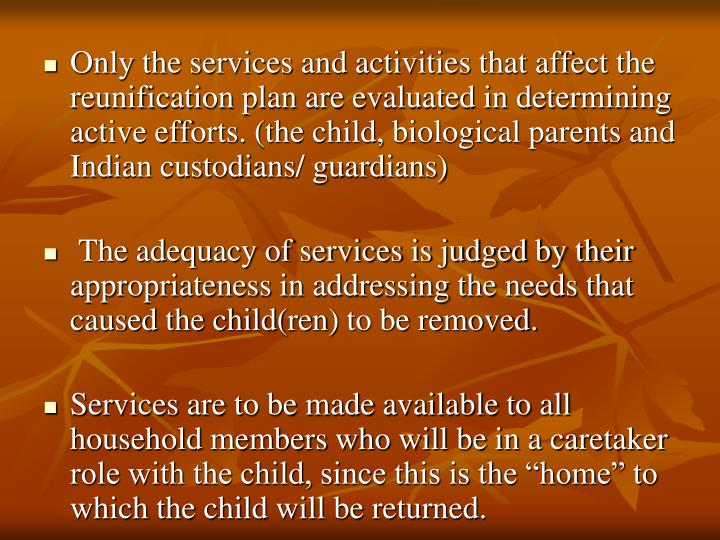 Only the services and activities that affect the reunification plan are evaluated in determining active efforts. (the child, biological parents and Indian custodians/ guardians)