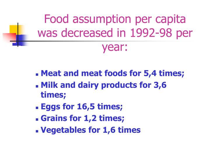 Food assumption per capita was decreased in 1992-98 per year