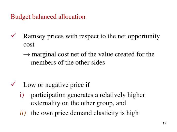 Budget balanced allocation