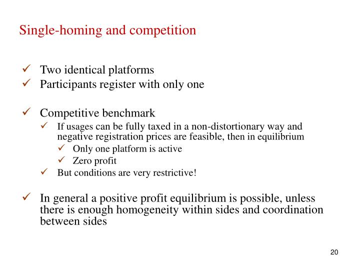 Single-homing and competition