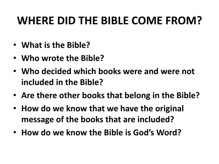 where did the bible come from