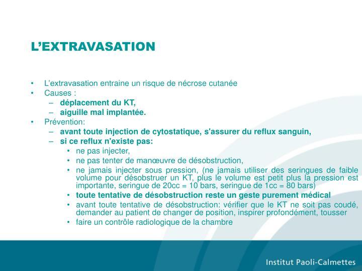 L'EXTRAVASATION