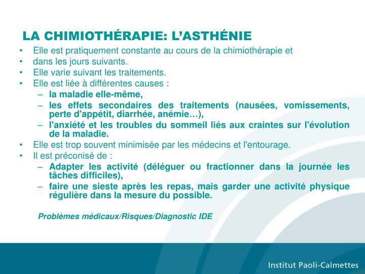 LA CHIMIOTHÉRAPIE: L'