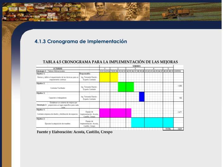 4.1.3 Cronograma de Implementación