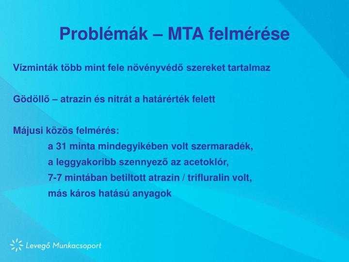Problémák – MTA felmérése