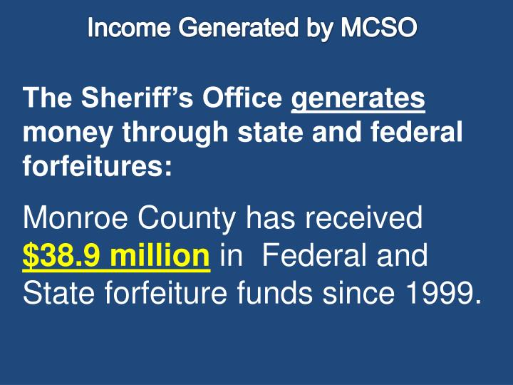 Income Generated by MCSO
