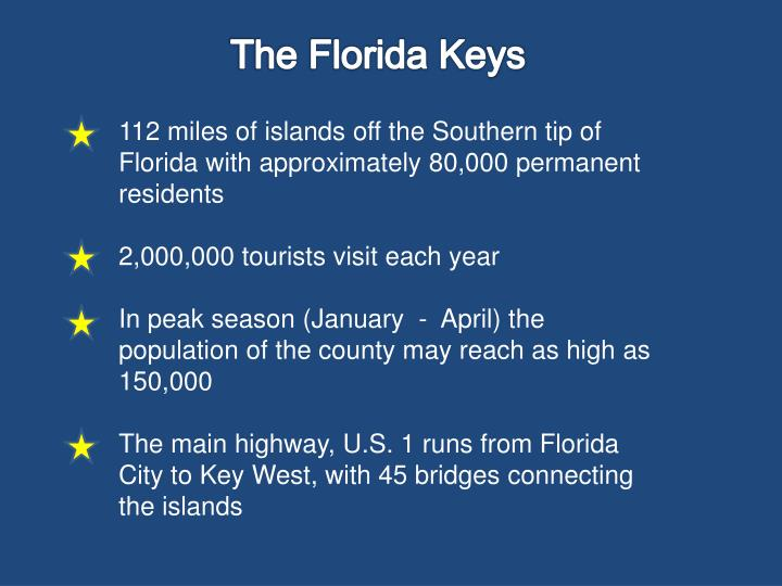 112 miles of islands off the Southern tip of Florida with approximately 80,000 permanent residents