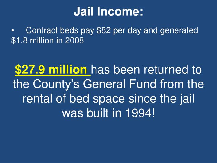 Jail Income: