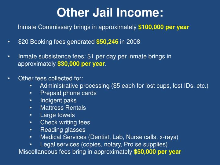 Other Jail Income: