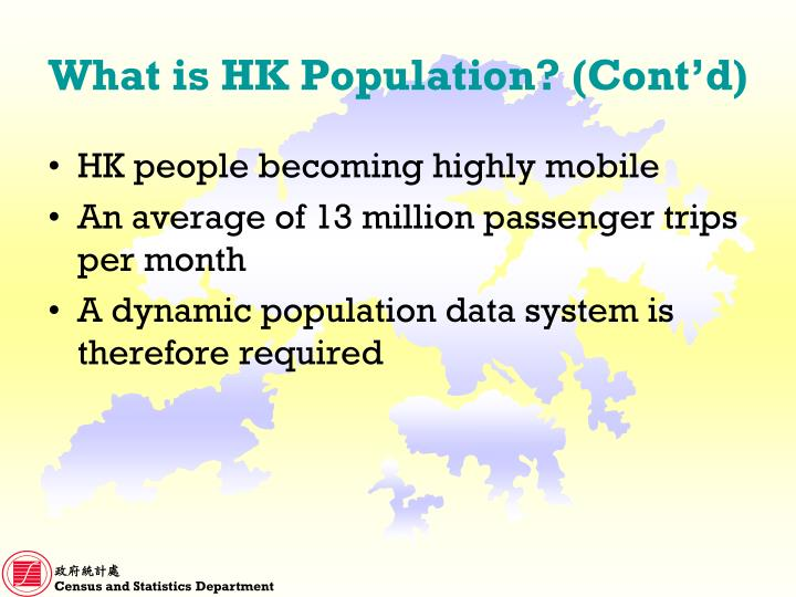 What is hk population cont d
