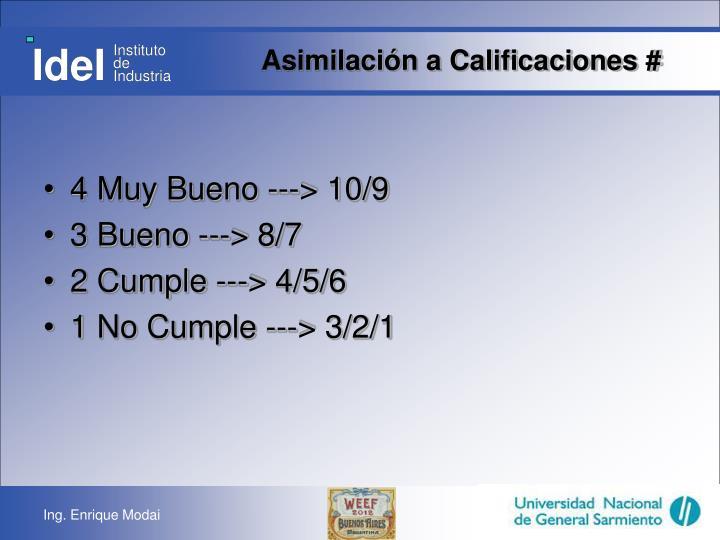 Asimilación a Calificaciones #