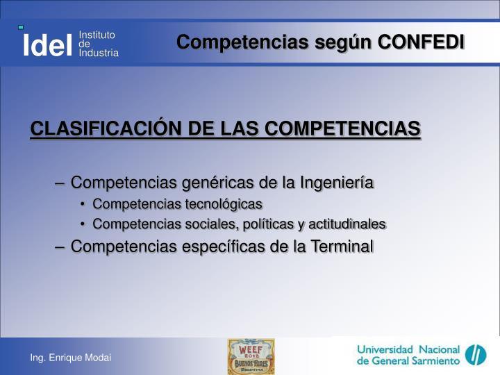 Competencias según CONFEDI