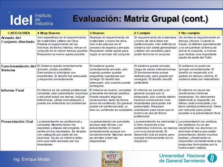 Evaluación: Matriz Grupal (cont.)