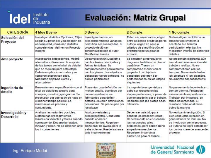 Evaluación: Matriz Grupal