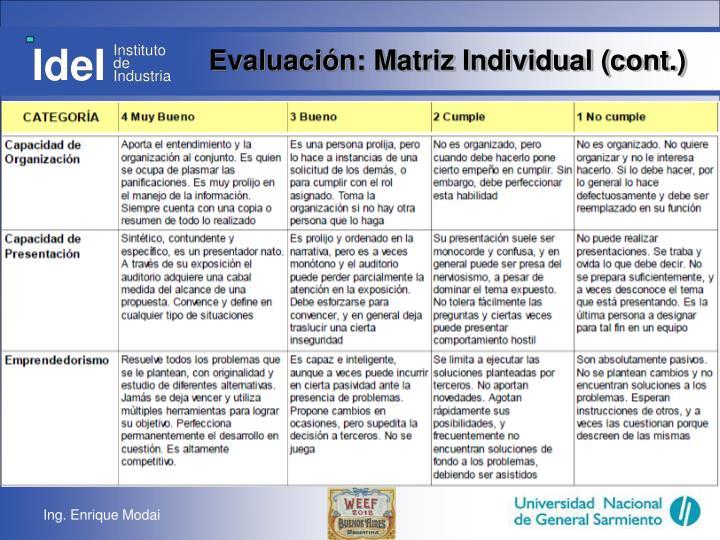 Evaluación: Matriz Individual (cont.)