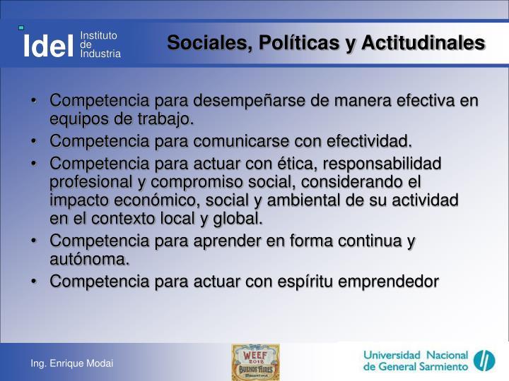 Sociales, Políticas y Actitudinales