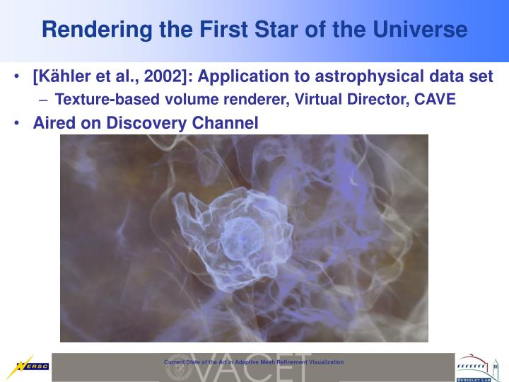 Rendering the First Star of the Universe