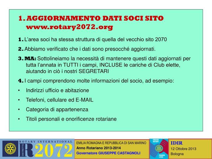 1. AGGIORNAMENTO DATI SOCI SITO www.rotary2072.org