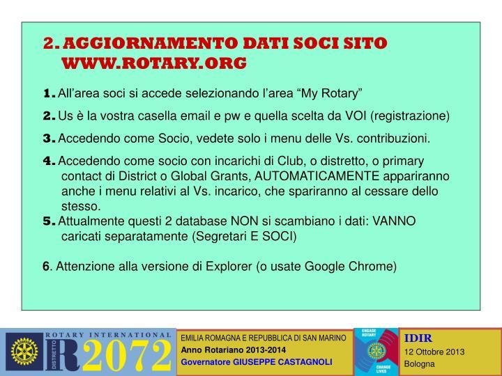 2. AGGIORNAMENTO DATI SOCI SITO WWW.ROTARY.ORG