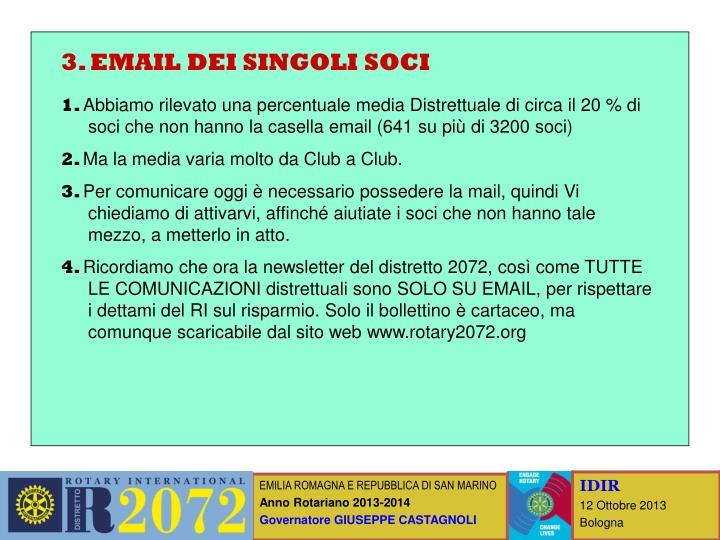 3. EMAIL DEI SINGOLI SOCI