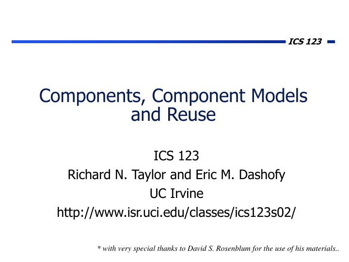 Components component models and reuse