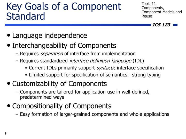Key Goals of a Component Standard