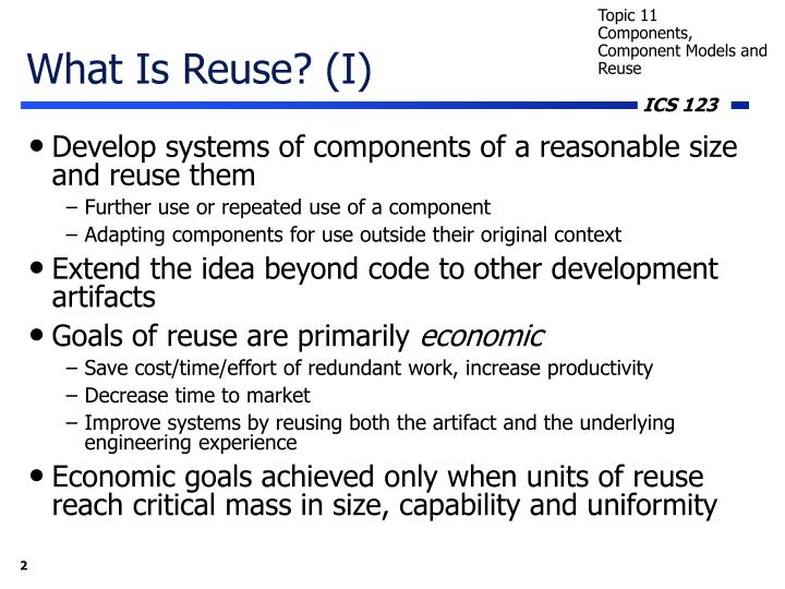 What Is Reuse? (I)