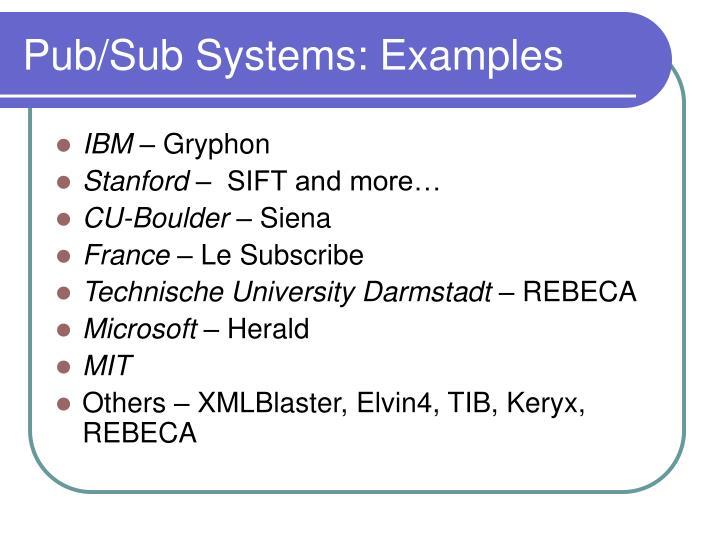 Pub/Sub Systems: Examples