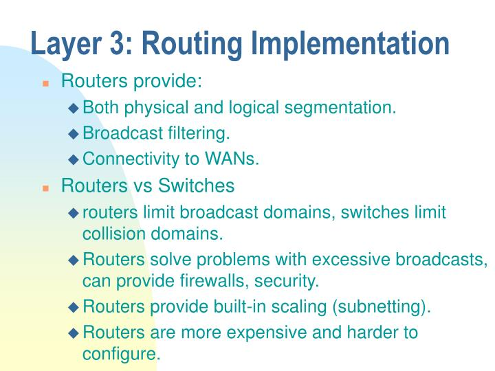 Layer 3: Routing Implementation