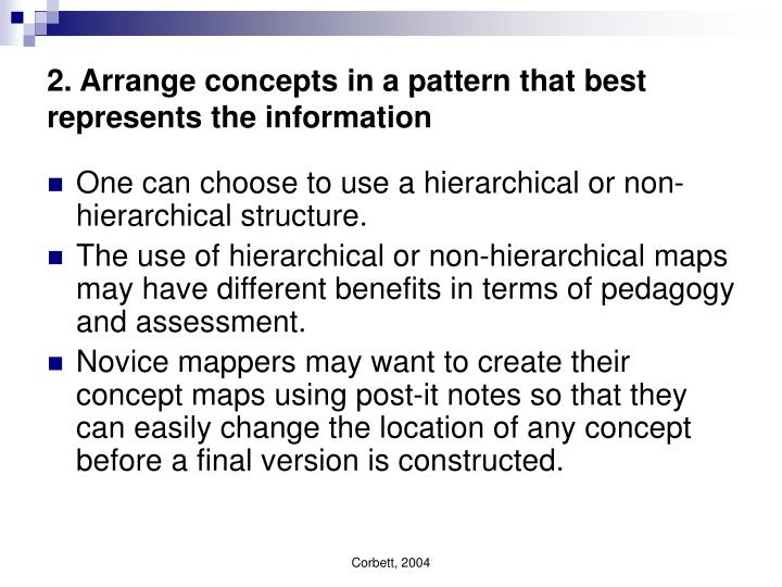 2. Arrange concepts in a pattern that best represents the information